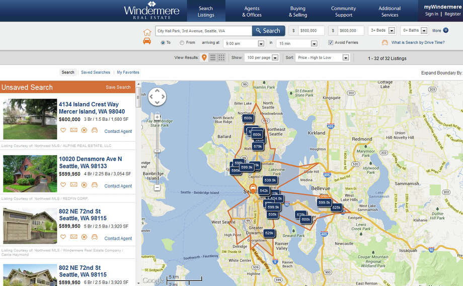 A sample Drive Time search, showing homes within 15 minutes of Seattle City Hall, with at least three bedrooms, listed for $500,000 to $600,000. Photo: Windermere Real Estate
