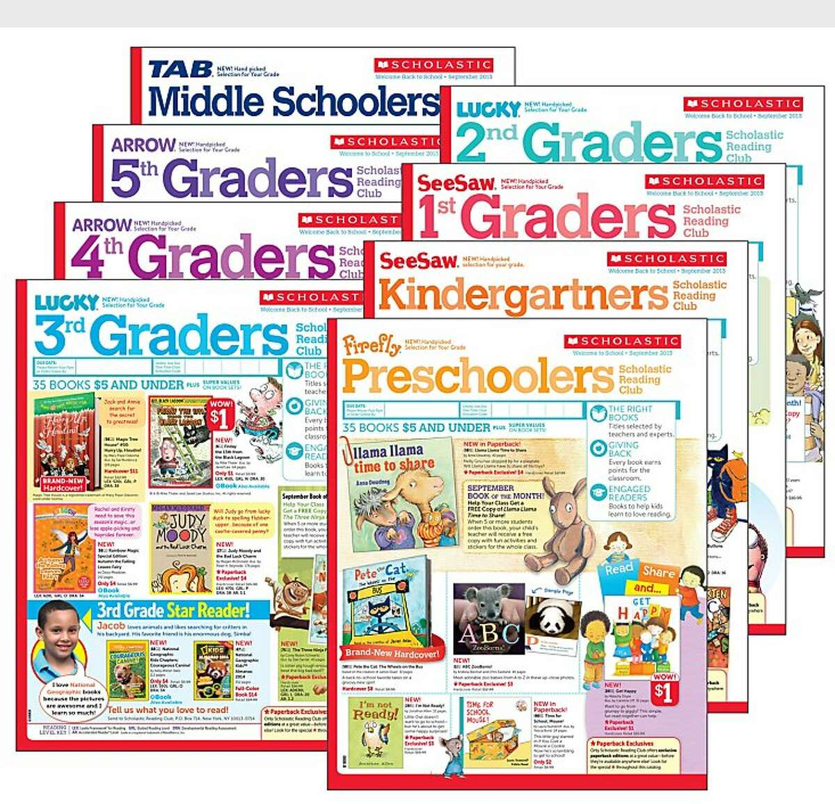 The new grade-specific Scholastic Reading Club flyers offers books with varied reading levels found in each grade to help Pre-K to Middle School students find just right books and prepare to meet the demands of the Common Core State Standards. (PRNewsFoto/Scholastic)