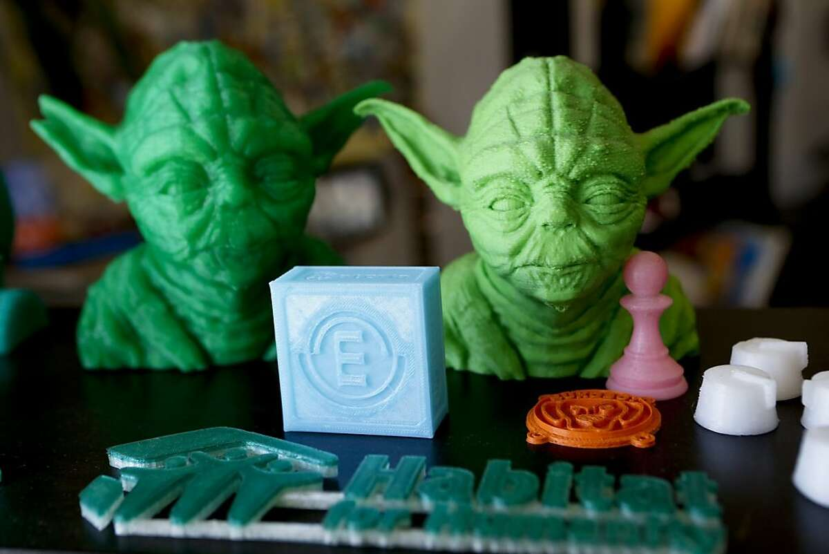 Plastic items made by Diego Porqueras using a Bukobot 3-D printer manufactured by Deezmaker are featured in his newly opened Deezmaker store in a strip mall in Pasadena, California, July 25, 2013. (Anne Cusack/Los Angeles Times/MCT)