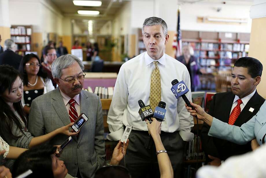 Mayor Ed lee (left), U.S. Secretary of Education Arne Duncan (center) and Superintendent  Richard Carranza answer questions from the media following a tour of Everett Middle School on Thursday, May 2, 2013 in San Francisco, Calif. Photo: Beck Diefenbach, Special To The Chronicle