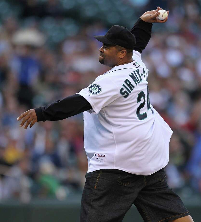 Sir Mix-a-Lot throws out the ceremonial first pitch prior to the game between the Seattle Mariners against the San Diego Padres at Safeco Field on July 1, 2011 in Seattle. Photo: Otto Greule Jr, Getty Images / 2011 Getty Images
