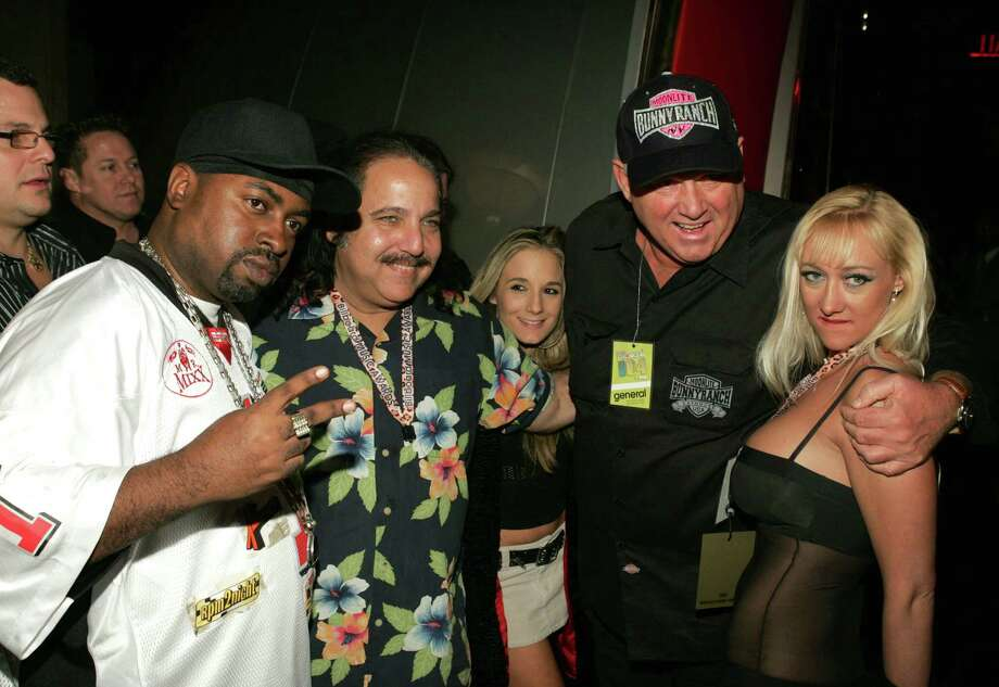 Sir Mix-a-lot, porn actor Ron Jeremy, Dennis Hof and guest at the Teatro in Las Vegas. Photo: John Shearer, Getty Images / WireImage