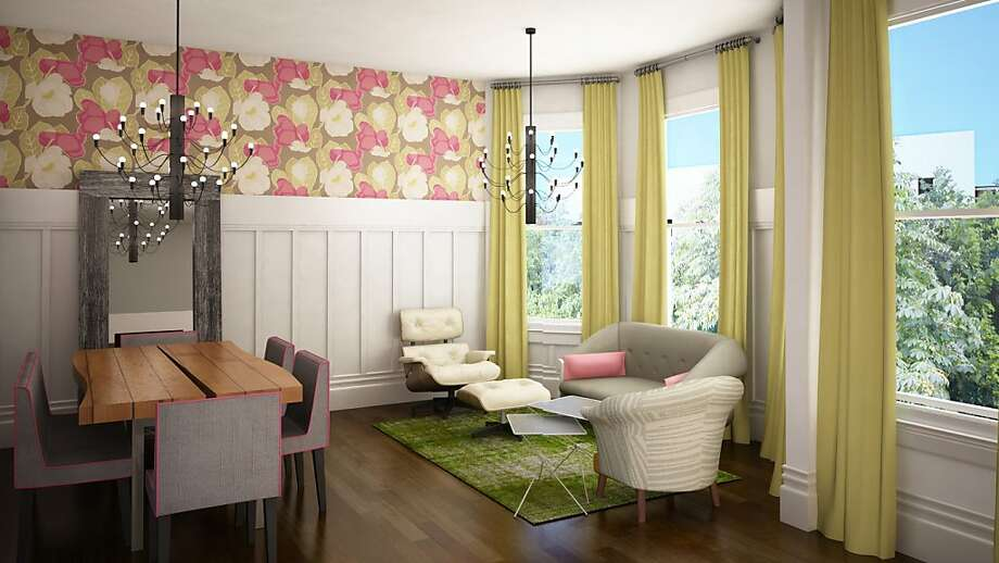 Rendered: For the dining and family lounge area, Melanie Coddington proposed bold floral wallpaper by Romo and custom citron drapes in a Kravet linen. Chairs in dark gray with hot-pink piping would surround client Melody Meckfessel's own dining table