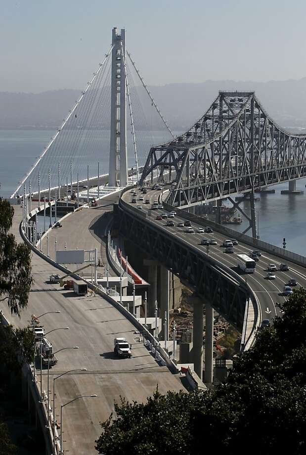 The new eastern span of the Bay Bridge, set to open by 5 a.m. Sept. 3, may be ready the night before. Photo: Michael Macor, San Francisco Chronicle