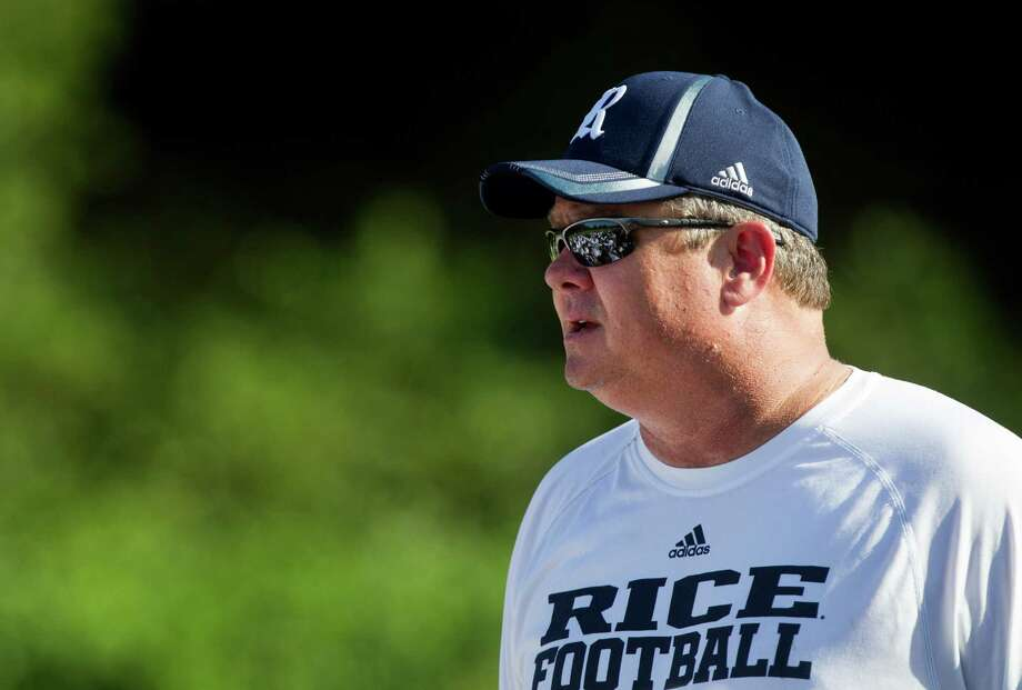 Rice head coach David Bailiff speaks to them team at practice on Tuesday, Aug. 13, 2013, in Houston. Photo: J. Patric Schneider, For The Chronicle / © 2013 Houston Chronicle
