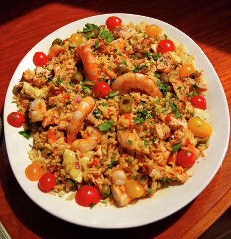 Paella Salad proves boat-galley or other small-kitchen recipes can be prepared with fresh ingredients. Photo: Robert McMahan