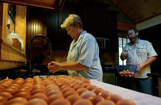 Cheri Glover washes eggs as David brings in another basket. The two hand-wash each egg before selling them at Urban Harvest and Grogan's Mill Village farmers markets. Photo: Cody Duty, Staff / Houston Chronicle