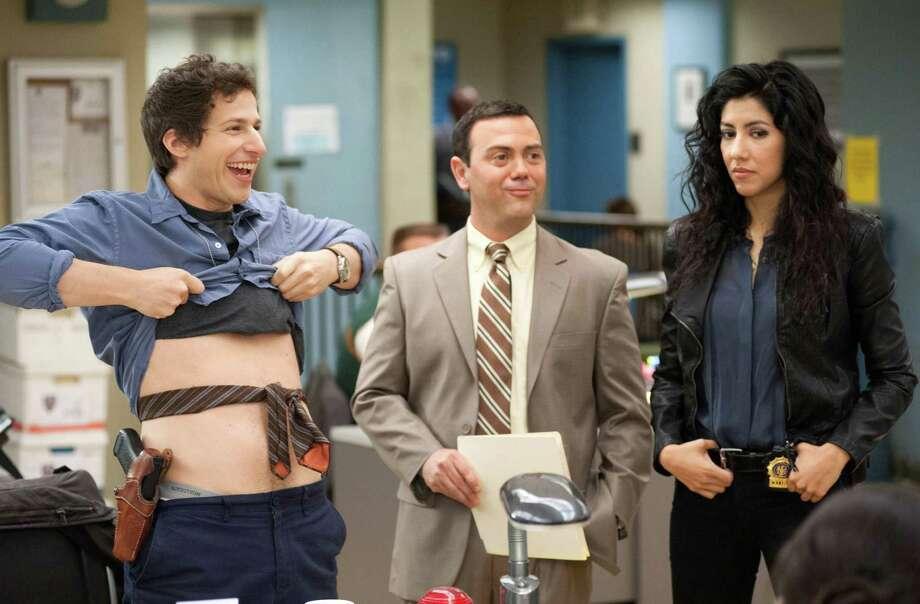 Andy Samberg, Joe Lo Truglio and Stephanie Beatriz in new Fox cop-comedy series 'Brooklyn Nine-Nine.'
