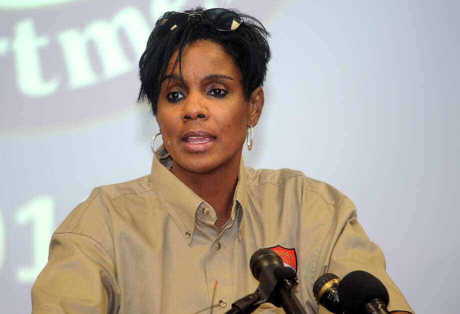 Jefferson County Sheriff's Department Chief Deputy Zena Stephens informs the media about some of the details of the deadly courthouse shooting during a press conference in Beaumont, Wednesday, March 14, 2012. Tammy McKinley/The Enterprise Photo: TAMMY MCKINLEY