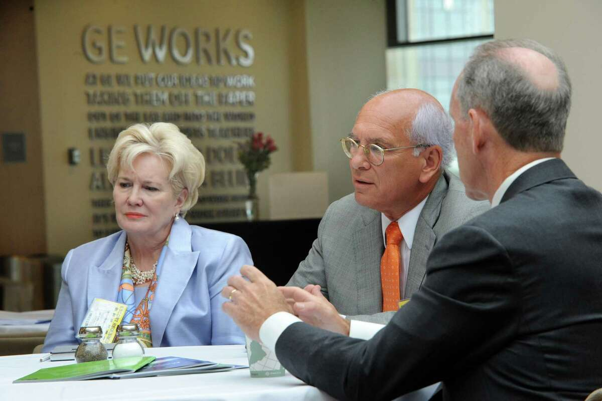 From left, Deborah Wince-Smith, president of the Council on Competitiveness, Congressman Paul Tonko and Mark Little, senior vice president and director of GE Global Research participate in a meeting of the Council on Competitiveness Tuesday morning, Aug. 13, 2013, at GE Global Research Center in Niskayuna, N.Y. (Lori Van Buren / Times Union)