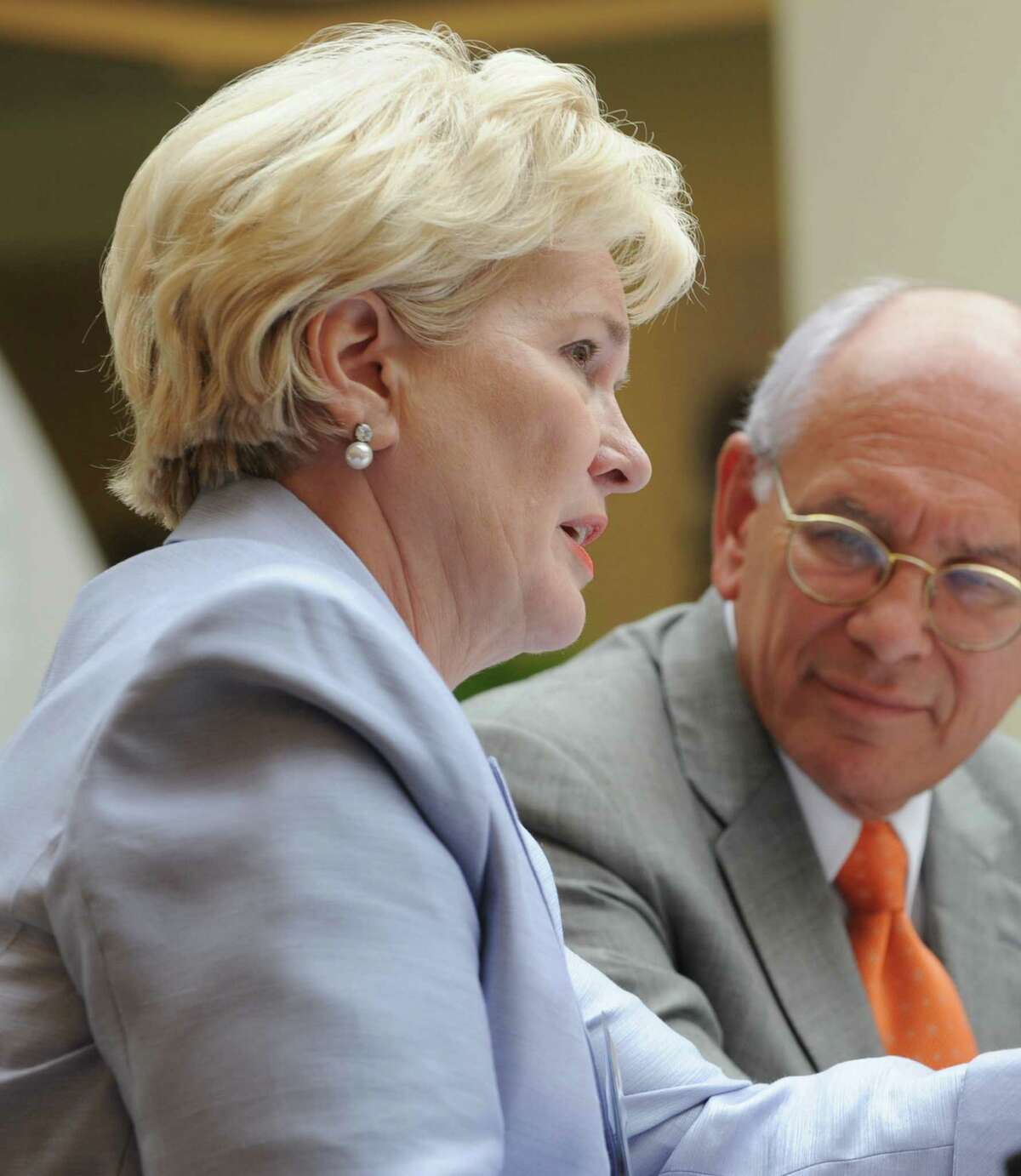 Deborah Wince-Smith, president of the Council on Competitiveness, left, and Congressman Paul Tonko participate in a meeting of the Council on Competitiveness Tuesday morning, Aug. 13, 2013, at GE Global Research Center in Niskayuna, N.Y. (Lori Van Buren / Times Union)