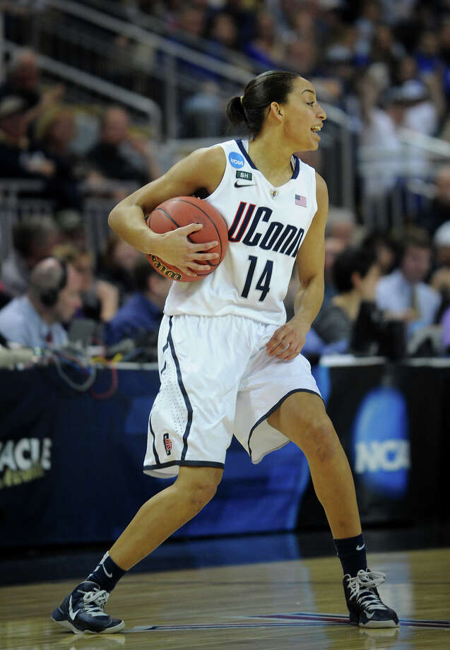 UConn's Bria Hartley celebrates during the Huskies' matchup with Kentucky in the elite eight round of the NCAA Women's Basketball Tournament at the Webster Bank Arena in Bridgeport, Conn. on Monday, April 1, 2013. Photo: Brian A. Pounds / Connecticut Post