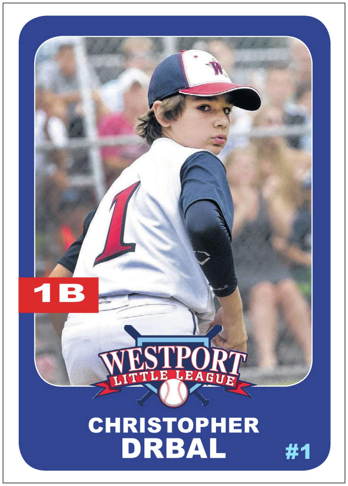 #1 CHRISTOPHER DRBAL Age: 13 Position: 1B Bats/Throws: R/R N.E. Tournament: .385 batting average, five runs scored, five hits