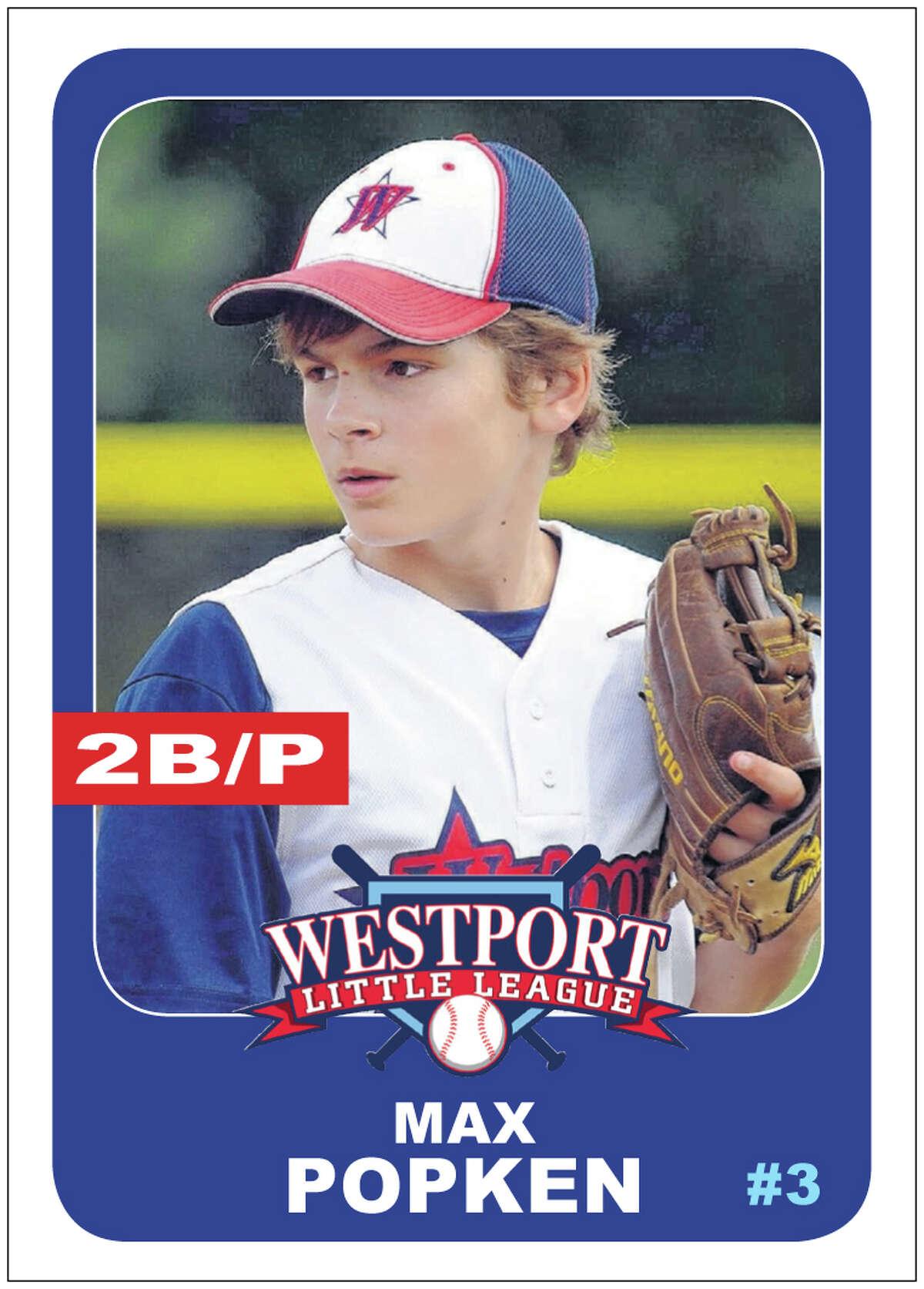 #3 MAX POPKEN Age: 12 Position: 2B/P Bats/Throws: R/R N.E. Tournament: Team-high seven runs scored, three RBIs; 3.60 ERA