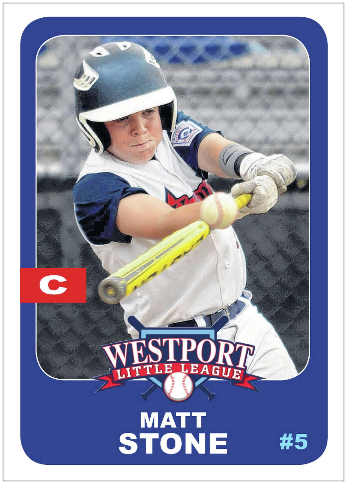 #5 MATT STONE Age: 13 Position: C Bats/Throws: R/R N.E. Tournament: .312 batting average, one home run, three RBIs