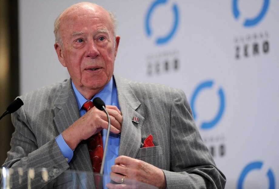George Shultz: The former Bechtel executive and President Reagan's long-serving Secretary of State used a Wall Street Journal piece to argue: We need at least to consider and examine forms of controlled legalization of drugs. The establishment mandarin raised eyebrows, speaking at a luncheon before a Stanford-Notre Dame football game, when he called for legalization of marijuana.  (Photo By Pascal Le Segretain/Getty Images)