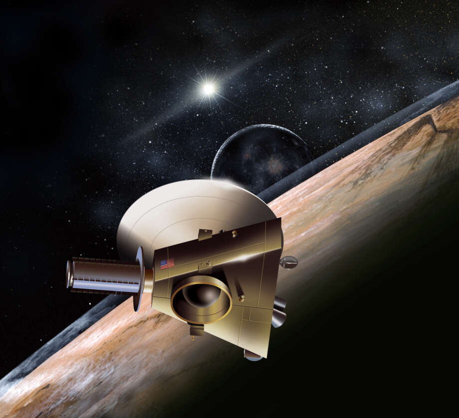 Shown in an artist's rendering, the unmanned New Horizons spacecraft is on course to fly past Pluto in 2016. / e-mail