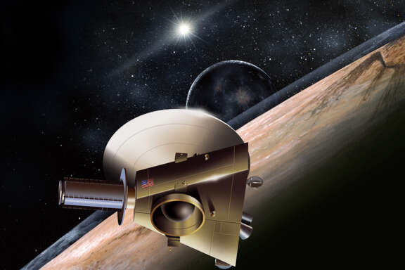 Shown in an artist's rendering, the unmanned New Horizons spacecraft is on course to fly past Pluto in 2016.