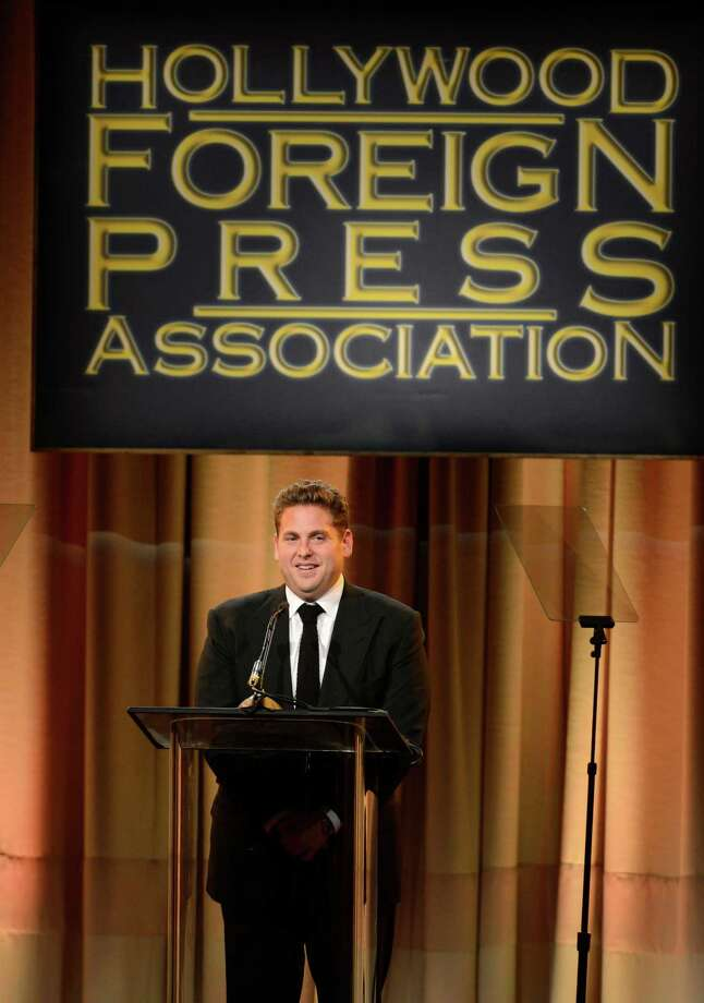 Jonah Hill speaks on stage at the Hollywood Foreign Press Association Luncheon at the Beverly Hilton Hotel on Tuesday, Aug. 13, 2013, in Beverly Hills, Calif. (Photo by Chris Pizzello/Invision/AP) ORG XMIT: CAPM151 Photo: Chris Pizzello, AP / Invision