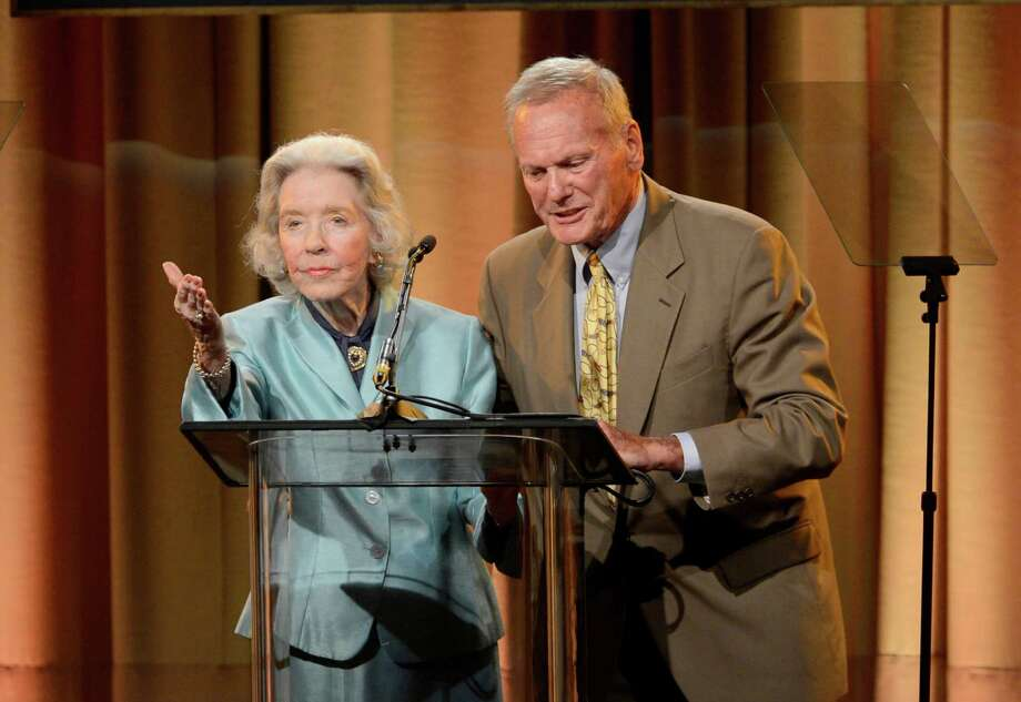 Marsha Hunt, left, and Tab Hunter speak on stage at the Hollywood Foreign Press Association Luncheon at the Beverly Hilton Hotel on Tuesday, Aug. 13, 2013, in Beverly Hills, Calif. (Photo by Chris Pizzello/Invision/AP) ORG XMIT: CAPM145 Photo: Chris Pizzello, AP / Invision