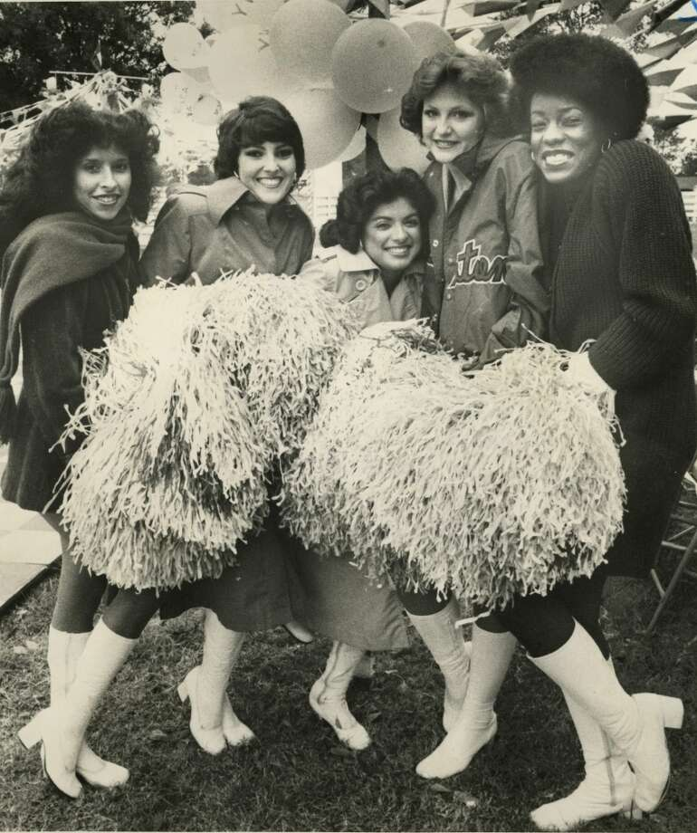 Houston Oilers Derrick Dolls Sandy O'Balle, Denise Bean, Vivian Cisneros, Theresa Sanders and Joyce Mickle in 1979. Photo: Houston Chronicle Files
