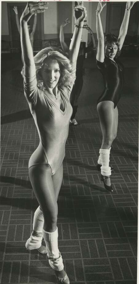 Derrick Dolls Melissa Nix and Carole Campbell at practice in 1982. Photo: Derrick Dolls