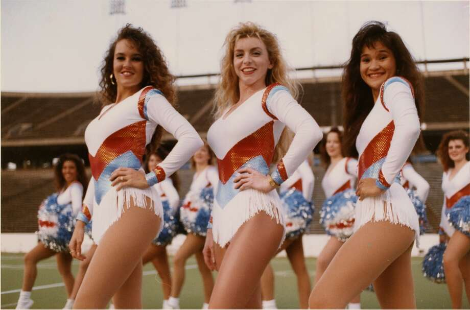 1992 - Derrick Dolls, now known as the Oiler Dancers, sporting their new uniforms at Rice Stadium. Photo: Karl Stolleis, Houston Chronicle Files