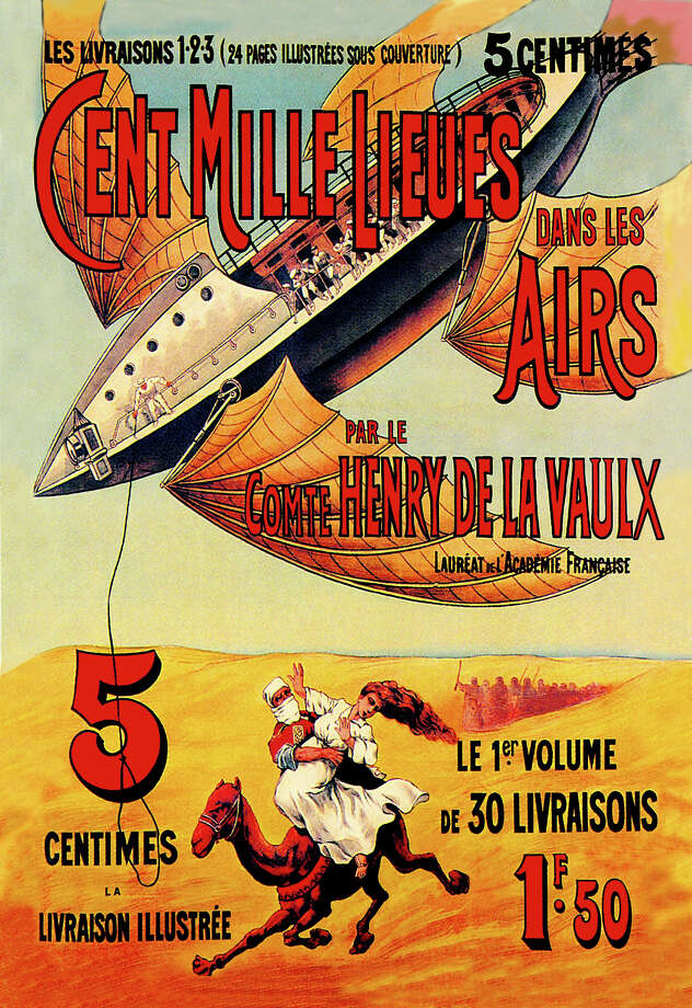 1900:One Hundred Thousand Leagues in the Air - A French  sci-fi representation of a winged airship flying over the desert. Photo: Buyenlarge, Getty Images / Archive Photos