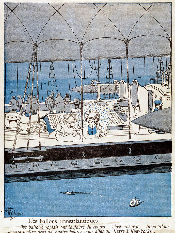 FRANCE - JANUARY 09:  'Les Ballons Transatlantique', (?Transatlantic Balloons?). Colour print by the French illustrator and caricaturist, Albert Guillaume (1873-1942) made for ?L?Assiette au Beurre? , a French satirical magazine published from 1901 to 1914. The image shows passengers on an aerial steam ship flying over the ocean on a transatlantic voyage. The caption below laments the lateness of English balloons and the long journey time from Le Havre to New York. Guillaume produced illustrations for numerous popular journals and many of his illustrations were published in albums during the 1890s and first decade of the 20th century. He was awarded a bronze medal at the Paris Exhibition of 1900. Dimensions: 292mm x 222mm.  (Photo by SSPL/Getty Images) Photo: Science & Society Picture Librar, SSPL Via Getty Images / SSPL/Science Museum