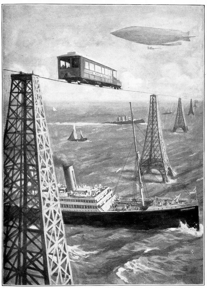 1908: An illustrated plate from the novel 'The War in the Air', by H G Wells, published in 1908, foresaw the importance of air forces in combat. This futuristic view shows a vehicle travelling on a monorail cable suspended between 'iron Eiffel Tower pillars', with ships sailing on the sea below and an airship flying in the sky above. English novelist and historian Herbert George Wells' (1866-1946) publications included 'The Time Machine' (1895) and 'The War of the Worlds' (1898). The Channel Tunnel was opened in 1994, 86 years after Wells? prediction of a transport link between Britain and France. Photo: Science & Society Picture Librar, SSPL Via Getty Images / SSPL/Science Museum