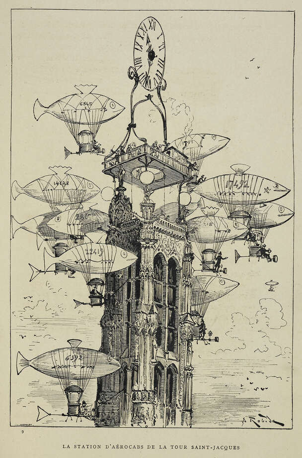 Flying machines in the shape of fish. A futuristic view of the 20th century, Science fiction. Black and white illustration. Author Albert Robida, Illustrated by Albert Robida. Photo: British Library/Robana, British Library/Robana Via Getty / ©The British Library Board