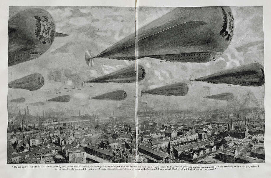 "1905: Airships flying over an industrialized city. An imagined vision of the future, from a serial ""War in the Air"" by HG Wells. Author Herbert George Wells. Photo: British Library/Robana, British Library/Robana Via Getty / ©The British Library Board"