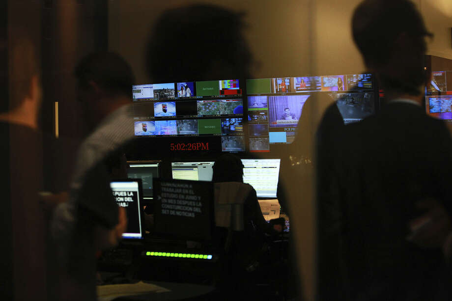 The first show is produced in the control room at the new Univision studio off De Zavala Road in Northwest San Antonio. Photo: Abbey Oldham / San Antonio Express-News