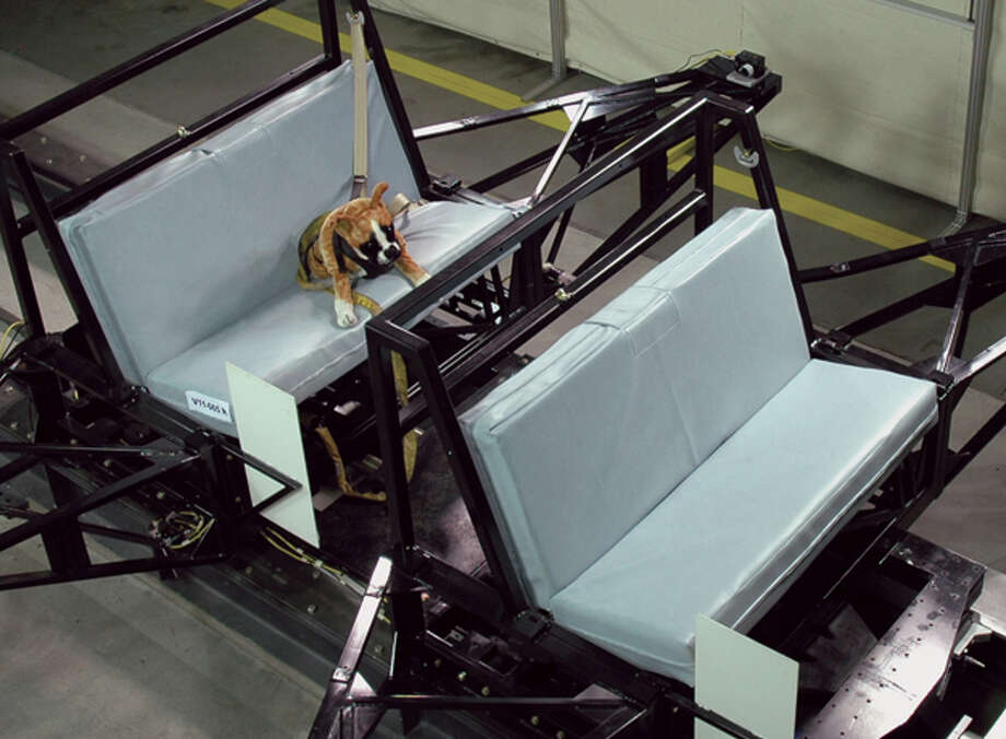 The Center for Pet Safety is conducting tests on pet harnesses using crash-test dog dummies. Photo: Center For Pet Safety