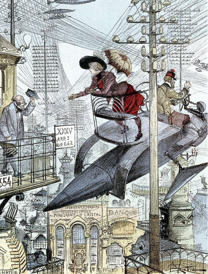 1890: A flying machine in a futurist town, illustration by Albert Robida. Photo: Apic, Getty Images / Hulton Archive