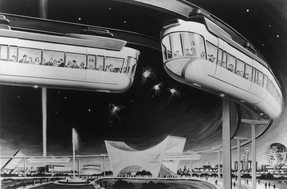 1964: An illustration of one of the first monorails carrying passengers around a curve. The train was  manufactured by the American Machine and Foundry Company. Photo: Hulton Archive, Getty Images / Archive Photos