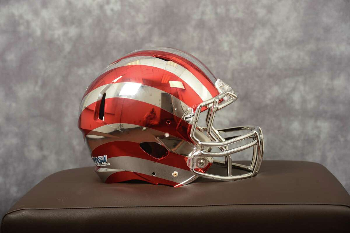 One of six new football helmets for the Indiana Hoosiers, 07/09/13_Mike Dickbernd