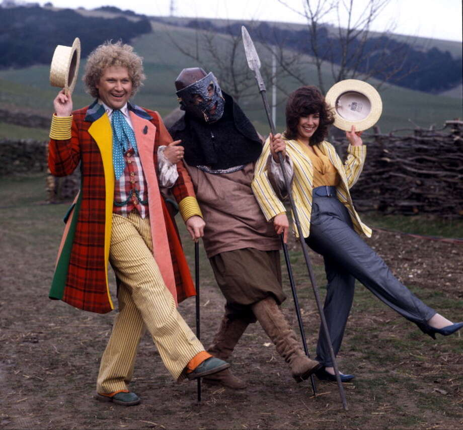 British Actor Colin Baker played Doctor Who from 1984 to 1986. He's shown here with his assistant Peri, played by Nicola Bryant, and an unidentified character. Photo: Photoshot / Hulton Archive