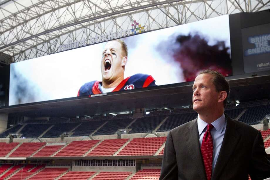 Reliant Stadium  Jamey Rootes, president of the Texans watches as the new HD video boards at Reliant Stadium are turned on. Photo: Brett Coomer, Houston Chronicle