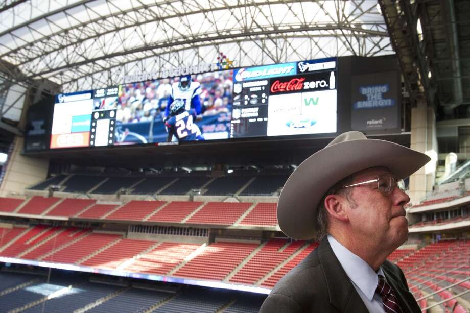 Reliant StadiumLeroy Schafer, COO Houston Livestock Show & Rodeo, smiles following the unveiling ceremony for the new HD video boards. Photo: Brett Coomer, Houston Chronicle