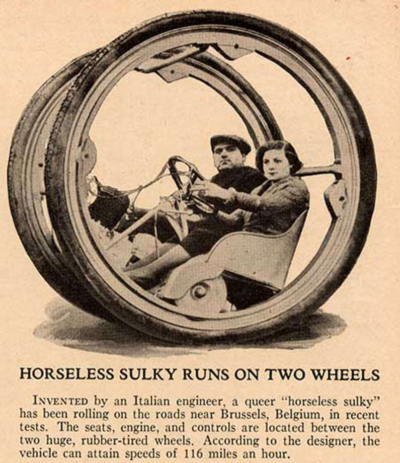 The Horseless Sulky. The image appeared in the June 1935 edition of Popular Science. According to the caption, the Horseless Sulky was being tested in Brussels, Belgium, and could hit speeds of 116 miles an hour. The inventor wasn't named. Photo: Multiple