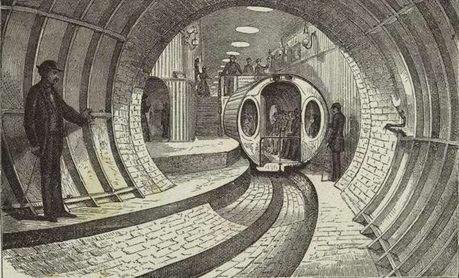 The Beach Pneumatic Subway, 1860s-1870s, designed to relieve traffic in New York. (Wikimedia Commons) Photo: Multiple