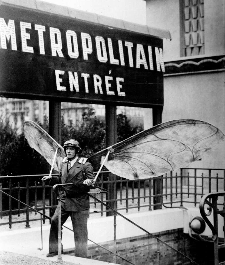 Man with hang gliders, Concours L'pine, French invention competition, Paris, 1935. (Photo by Jacques Boyer/Roger Viollet/Getty Images) Photo: Jacques Boyer, Multiple
