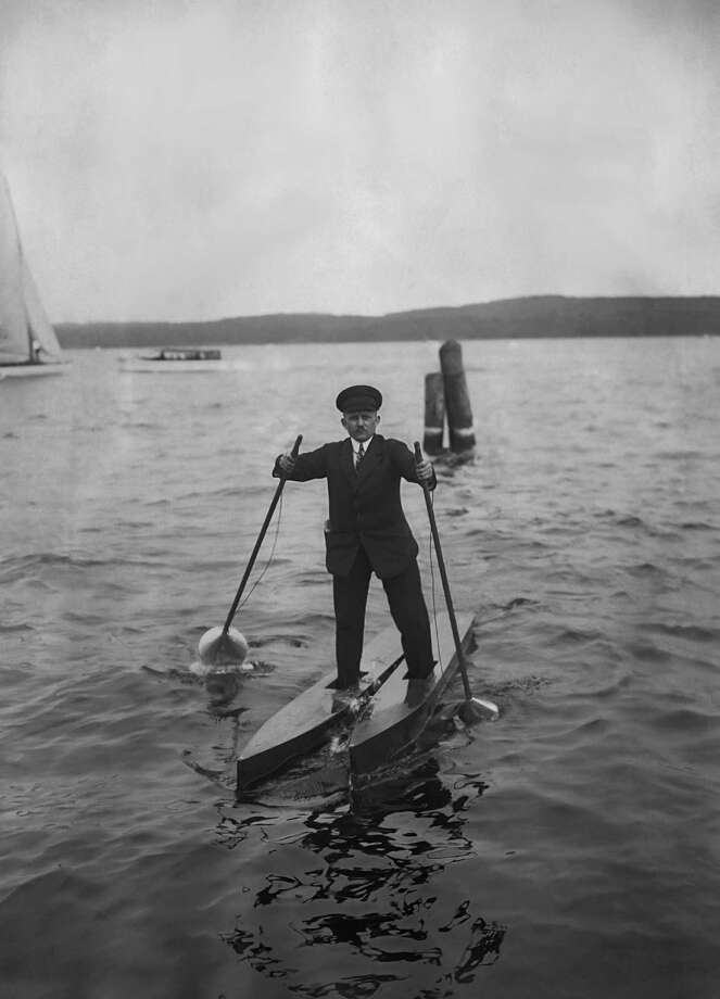 A man, with two small boats on his feet, walks on water in Potsdam, Germany in the 1930's. (Photo by FPG/Getty Images) Photo: FPG, Multiple / 2010 Getty Images