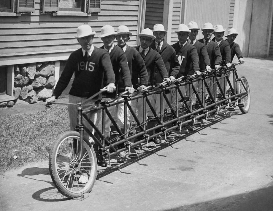 A Special Bicycle With A Seating Capacity Of 10 In Massachusetts In Usa  (Photo by Keystone-France/Gamma-Keystone via Getty Images) Photo: KEYSTONE FRANCE, Multiple / KEYSTONE FRANCE