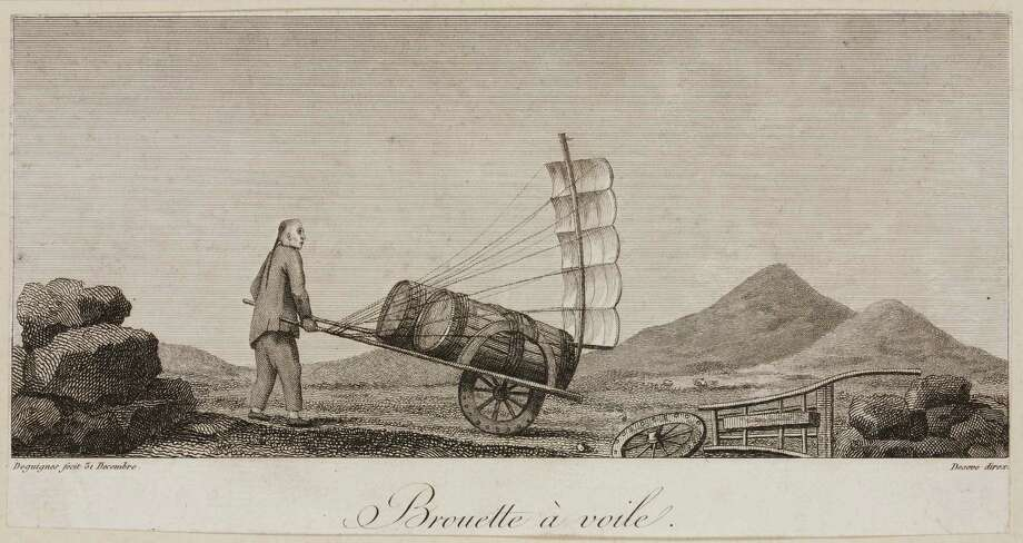One of a series of eleven engravings by Deseve after Deguignes, from a book on China showing various industrial scenes. Titled ?Brouette a Voile?, it shows a man pushing a loaded wheelbarrow or rickshaw which has sails fitted to make his task easier.  (Photo by SSPL/Getty Images) Photo: Science & Society Picture Librar, Multiple / Please read our licence terms. All digital images must be destroyed unless otherwise agreed in writing.