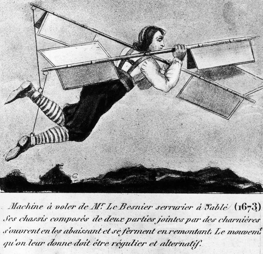 French locksmith Jacob Besnier manages to fly short distances using a flying machine which consists of two hinged paddles covered with fabric, circa 1678. (Photo by Hulton Archive/Getty Images) Photo: Hulton Archive, Multiple / 2006 Getty Images