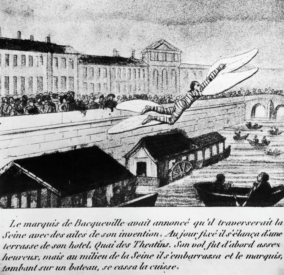 The Marquis de Bacqueville attempts to fly across the River Seine in Paris, with large wings attached to his arms and legs, 1742. He flew halfway across before dropping onto the deck of a barge, breaking one of his legs. (Photo by Hulton Archive/Getty Images) Photo: Hulton Archive, Multiple / 2006 Getty Images