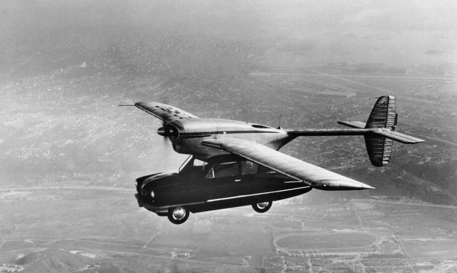 A ConVairCar, Model 118 flying car during a test-flight, California, November 1947. The hybrid vehicle was designed by Theodore P. Hall for the Consolidated Vultee Aircraft Company of San Diego, California, but never went into production. (Photo by FPG/Hulton Archive/Getty Images) Photo: FPG, Multiple / 2004 Getty Images