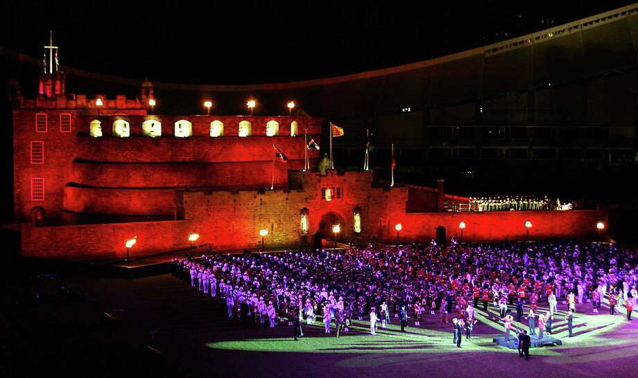 This replica of Edinburgh Castle was built in the Sydney football stadium during the first performance in Australia of the Edinburgh Military Tattoo, on Feb. 2, 2005. Photo: TORSTEN BLACKWOOD, AFP/Getty Images / 2005 AFP